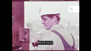 Construction Workers, Skyscraper, 1960s, 1970s, USA, HD