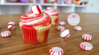 RED AND WHITE PEPPERMINT CUPCAKES || Holiday Cupcakes