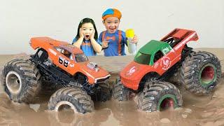 BLIPPI Monster Trucks Inspired HOT WHEELS Monster Truck vs. SRIRACHA Monster Truck in the Mud Story