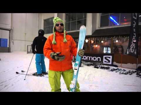Смотреть видео Горные лыжи Salomon Kiana (158) + крепления Lithium 10 W 15/16