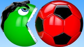 Learn Colors Hulk PACMAN and SoccerBall Bunny Mold Surprise Toy Street Vehicle for Kid Children