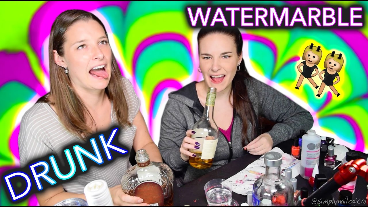 Drunk Sister Watermarble Nails (an unhelpful tutorial) thumbnail