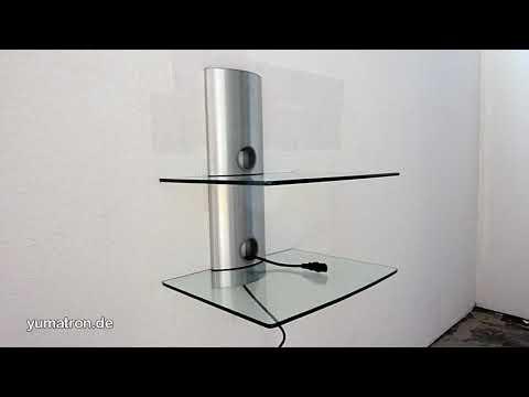 GL1: Wandhalterung mit zwei Glasplatten und Kabelkanal