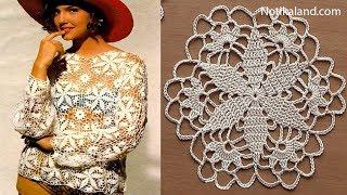 Crochet pattern Crochet motif for blouse tunic Part 1