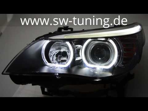 Angel Eye Scheinwerfer für 5er BMW E60 E61 High LED Standlichtringe Black SW-Tuning