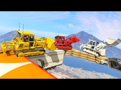 IMPOSSIBLE BULLDOZER PARKOUR! - GTA 5 Funny Moments #747