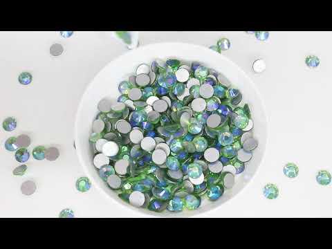 Light Green AB Glass FlatBack Rhinestones Silver Back