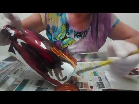 Paso a paso, Técnica  para pintar botella con tinta al alcohol.