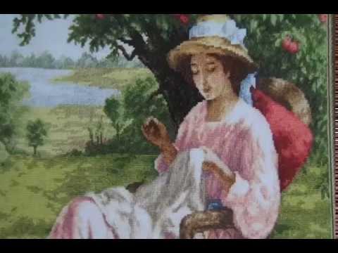 11.  Процессы июня 2017, вышивка крестом - Шкатулка, Яблоневый сад и Поцелуй у моря