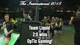 Team Liquid wins 2:0 OpTic Gaming in Play-off 🏆 The International 2018 Winning moment #CyberWins