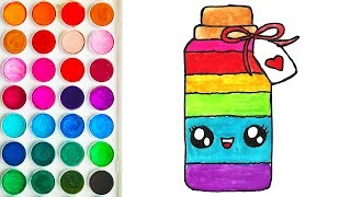 Drawing of Colored Bottle for Kid, Drawing Step by Step for Kids