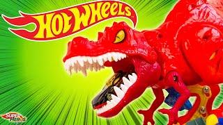 Hot Wheels City Circuit T-REX En Furie Review  Hotwheels T-REX Rampage Français Dinosaure