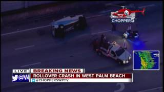 Rollover crash on Military Trail in West Palm Beach