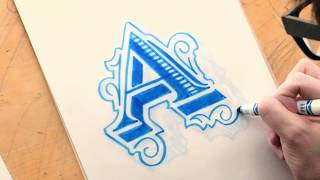Lettering Tutorial - Illuminated Roman Letter A - Learn To Letter