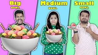 Big Vs Medium Vs Small BOWL Challenge | Food Challenge India | Hungry Birds - Download this Video in MP3, M4A, WEBM, MP4, 3GP