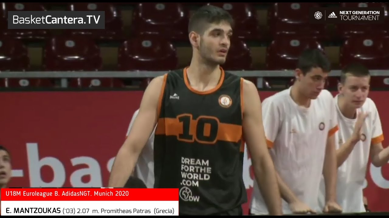 E. MANTZOUKAS (´03) 2.07 m. Promitheas Patras Grecia. U18 Euroleague ANGT Múnich  (BasketCantera.TV)