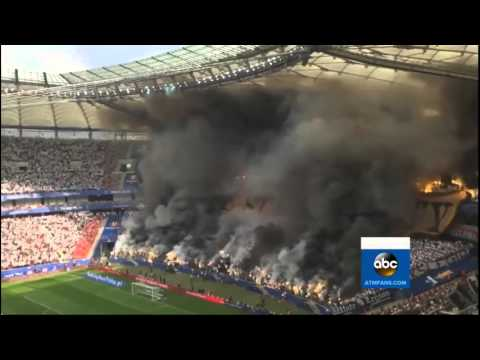 Fans throws Hundreds of Flares at Polish Cup