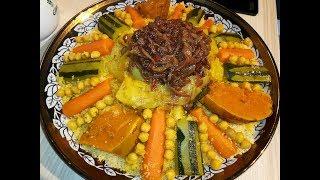 طريقة تحضير الكسكس المغربي على حقو وطريقو لذيذ وبنين/كسكس مغربي /couscous Marocain