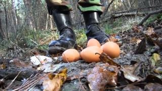 stomping eggs in mud army boots