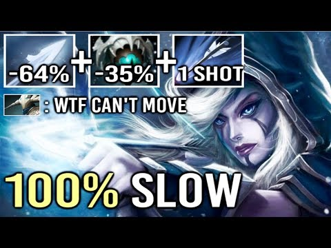 OMG 100% SLOW CAN'T MOVE 7.21 Skadi Drow Ranger Frozen Arrow Build by ddz Top Rank Gameplay Dota 2