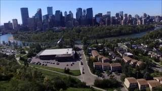 Aerial flyover of Sunnyside in Calgary, Canada from Drone