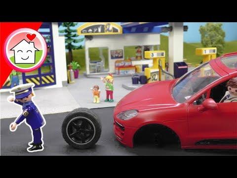 Playmobil Polizei - Überfall auf die Tankstelle - Kommissar Overbeck Familie Hauser Video für Kinder
