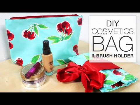DIY Makeup/Cosmetics Bag with Brush Holder