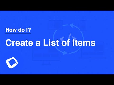 Create a List Of Items
