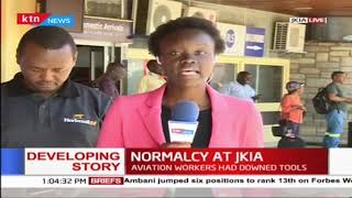 Normalcy returns at JKIA as Airforce soldiers help man facility