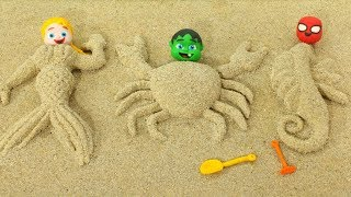 Superhero Babies Play with Sand ❤ Hulk & Frozen Elsa Play Doh Cartoons & Stop Motion Movies