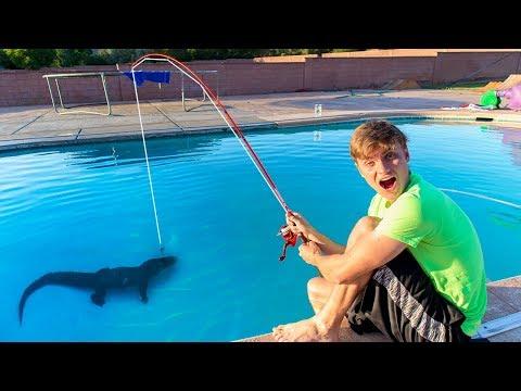 fishing in swimming pool pond monster carter sharer