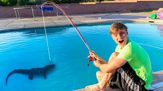 FISHING IN SWIMMING POOL!! (POND MONSTER) - Video Youtube