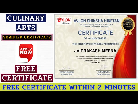Free Certification On Culinary Arts | Free Certificate | Free Quiz Certificate | Recipes and Cooking