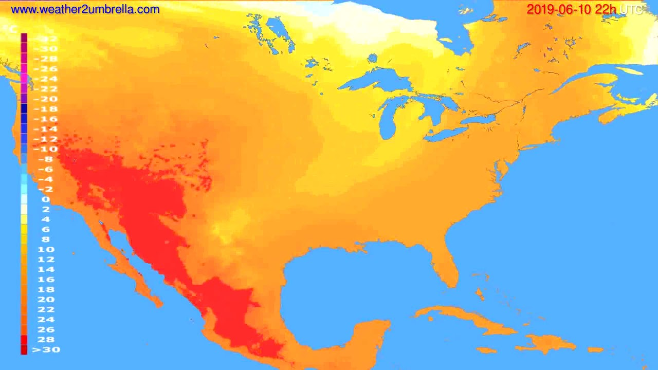 Temperature forecast USA & Canada // modelrun: 00h UTC 2019-06-08
