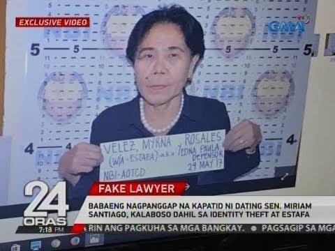 24 Oras: Nagpanggap na kapatid ni dating Sen. Santiago, kalaboso dahil sa identity theft at estafa