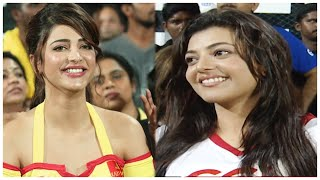 Kajal Aggarwal & Shruti Haasan Delighted On Chennai Rhinos Dominating Bengal Tigers Kolkatta in CCL.