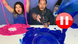 Pause Challenge - Pause Slime Challenge with Our Dad!