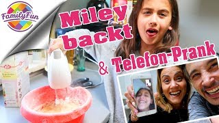 TELEFON PRANK an MILEY & Regenbogen UNICORN Kuchen backen | Family Fun