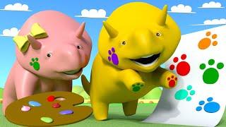 Учим ЦВЕТА: Рисуем лапами! - Изучайте вместе с Дино 👶 Обучающий мультфильм для детей