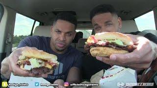 Eating Freddie's Steak Burgers @hodgetwins