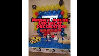 Birthday Decoration Idea At Home  Mickey Mouse Theme Party & Invitation Cards