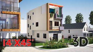 14x45 Home Design With 6 Bedrooms Plan#7 || 3D Modeling House Full Plan || KK Home Design