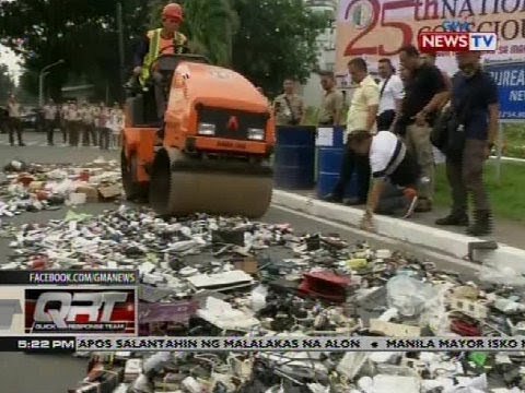[GMA]  QRT: Mga gadget, marijuana, alak, patalim at iba pang naipuslit sa Bilibid, sinira