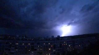 Сотни молний обрушились на город. Гроза в Новокузнецке.