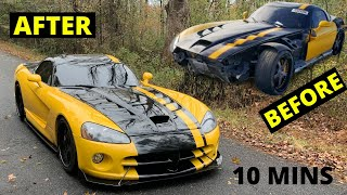 Rebuilding Wrecked  2006 Viper Dodge Rebuild in 10 Mins like THROTl