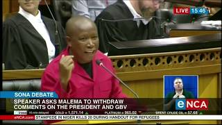Speaker Amos Masondo asked EFF leader Julius Malema to leave parliament after he refused to withdraw his statements made against the president, alleging the president abused his late wife. Courtesy of #DStv403
