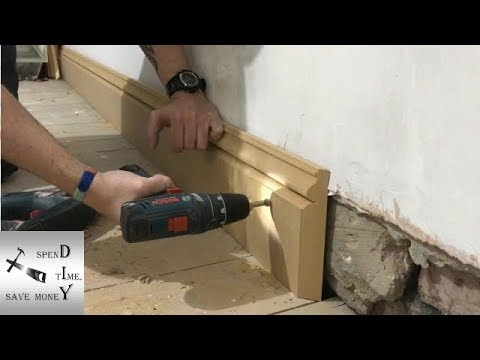 How to attach skirting boards, baseboards to solid walls