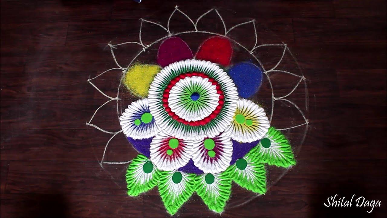 beautiful flower rangoli design by shital daga