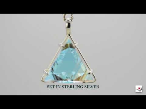 Vogel Crystal Star of David Clear Quartz & Pale Cyan Dichroic Pendant   Med