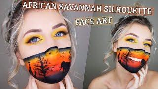 African Savannah Silhouette Face Art/Makeup *Facepaint*